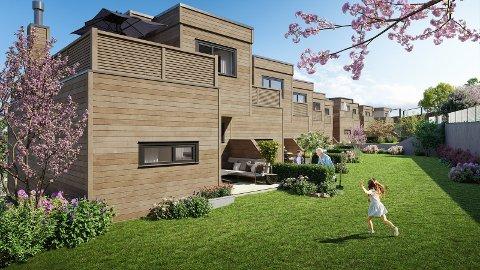 NYTT PROSJEKT: Viken Prosjektutvikling skal reise 14 rekkehus på Lierskogen.
