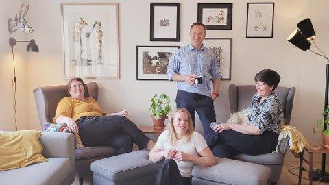 FESTIVALSTYRET: Fra venstre er nestleder, Katrine Smemo Granlund, selverklært korpsnerd, Ingvild Bergum Berget, kommunikasjonsarbeider Johan Christian Hafstad, og leder for Huskonsertforeningen Petra Røise. På bilde mangler styremedlemmene Pål Emil Storm-Berg og Marte Bergsland.