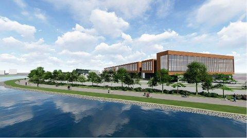 NYBYGG: Dette er et tidlig utkast for nytt terminalbygg for Drammen havn, på nordsiden mot det nye sykehuset.