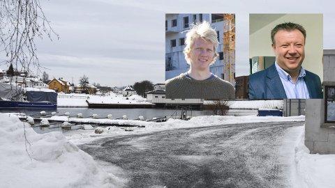 HER SKAL DET SKJE: På dette området - helt ned mot Vestfosselva og båthavna skal det bygges leiligheter. Så kombinasjonen mellom å være båteier og innehaver av en ny leilighet i Vestfossen Elvepark blir nærliggende.