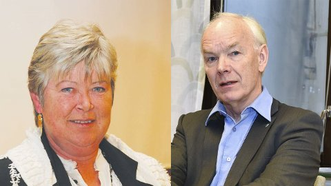 Gruppeleder Elisabeth Uggen i Øvre Eiker FrP og Senterpartiets Per Olaf Lundteigen.