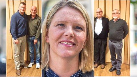 SPLITTER: Kjell E. Grønbeck (f.v.) og Arne Eide er fortsatt medlemmer og styremedlemmer i Øvre Eiker KrF. Arne Halvorsen og Svein Harald Sæbø har levert partiboka og trukket seg fra styret. KrFs håndtering av konflikten omkring Sylvi Listhaug er årsaken.