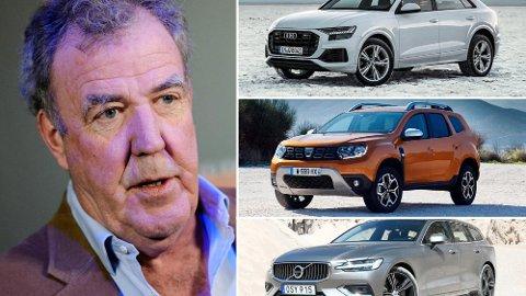 Både Volvo, Audi og Dacia er på listen over de kjipeste bilene Jeremy Clarkson testet i 2018. Foto: Scanpix/Broom