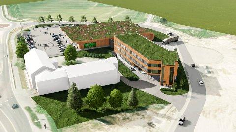 NESTE FASE: Lerberg Utvikling AS skal bygge kontorlokaler på omkring 1.800 kvadratmeter vegg-i-vegg med Kiwi på Lerberg i Hokksund. Illustrasjon: AD Arkitekter