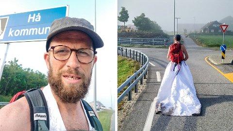 TIL FOTS: Natt til torsdag gikk Knut Reier Indrebø fra Stavanger til Nærbø. – Det var litt pinlig, innrømmer han.
