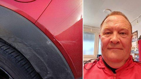 Bilen ble påkjørt to ganger på parkeringsplassen. Hele støtfangeren bak må byttes som følge av ulykken. På bildet kan man se riper etter sammenstøtet.