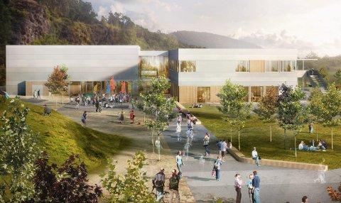 Ny skule:  Skanska har designa nye Eikefjord skule. Skanska skal rive dagens skulebygg, og levere eit nøkkelferdig nybygg innan august 2016.illustrasjon: skanska