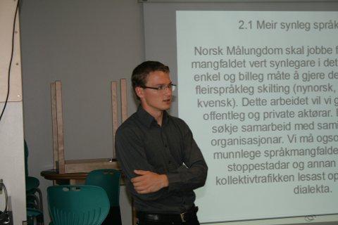 Karl Peder Mork. Foto: Norsk Målungdom