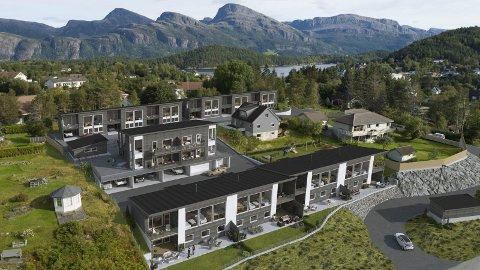 Slettevollen Panorama: Her kjem det fjorten bustader med høg standard. Illustrasjon: VestlandsBygg Florø AS