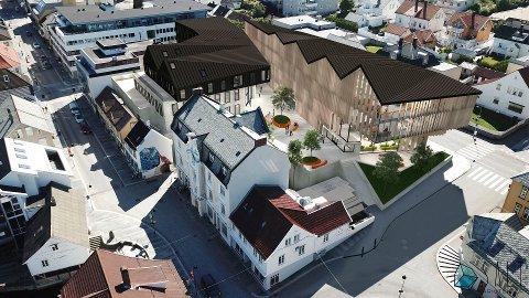 """DIABASGANG: Ivest Consult fekk oppdraget om å teikne rådhuset i Florø. No ønskjer Kinn kommune å heve kontrakten. Det kan opne for andre konsept. Dette er Salt Arkitekter i Florø sitt konsept """"Diabasgang""""."""