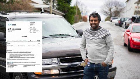 Dennik Gnananantham fekk rekning på 1800 kr i posten etter ein snarvisitt innom flyplassen.