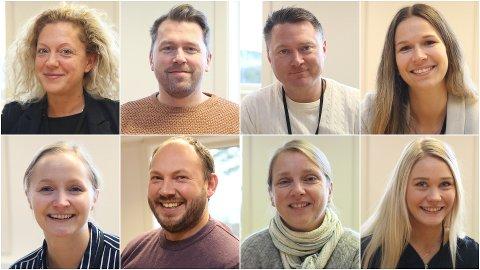 NYTILSETTE: Oppe f.v.: Martha Szemiot, Børge Nordal, Kim Gunnar Jensen og Marita Jarstad. Nede f.v..: Marthe Opheim, Sigurd Stavang Haugerud, Bodil Bø og Elise Midtbø.