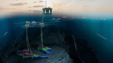 GJØA HAR BLITT STØRRE: Både Duva- og Gjøa P1-blir kopla mot Gjøa gjennom havbotnrammer. Denne veka strøymer både gass og olje for første gong frå Gjøa P1.