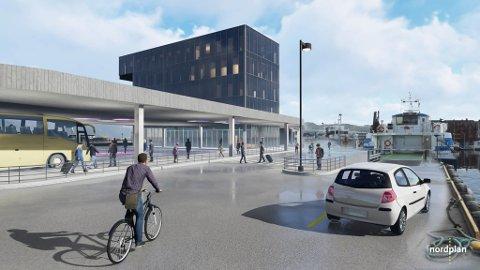 """TERMINAL: Slik har arkitektane i Nordplan sett føre seg at det nye signalbygget på Fugleskjerskaia skal sjå ut. No blir det lyst ut """"design and build""""-konkurranse, i tillegg til at bygget er krympa med to etasjar, så det vil då komme til å sjå noko annleis ut."""