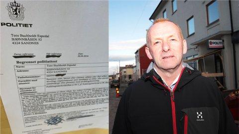 Journalistens eigen politiattest og Leif Sætrum, som er ansvarlig for eininga i politiet. Politiattesten er fra 2016, men fortsatt gjeldande. Bildet av Sætrum er fra Finnmarken i 2012.