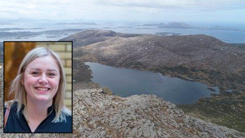 SAGAVATNET: Sagavatnet, drikkevasskjelda til Florø by. Er det ekstra utsett no når vindturbinane blir bygd minst 100 meter frå nedbørsfeltet? Innfelt, olje- og energiminister Tina Bru (H).