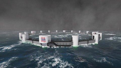 STORE: Dei nye havmerdene for lakseproduksjon er 80 meter i diameter og skal tole kraftig sjø.