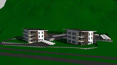 Kyrkjebø: Dei fyrste teikningane viser to tre-etasjars bygg, kor kvar bustad ligg på 100-111 kvadrat. Illustrasjon: Ravnanger hus AS