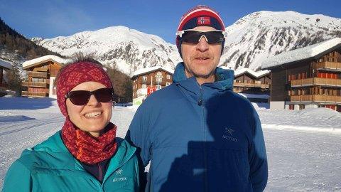 Stolte foreldre: Oda Karin Hope og Terje Skamo i Sveits. Dei var naturleg nok kjempestolt etter sonens VM-gull.