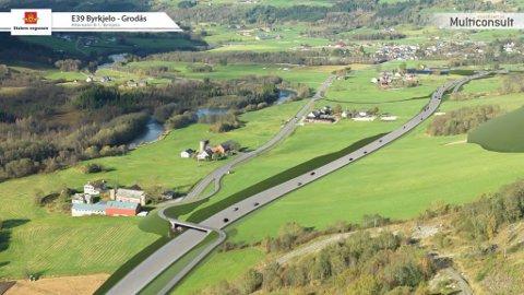 TILRÅDD: Slik vil Statens vegvesen legge traséen for E39 frå Bergheim til Byrkjelo. Dagens trasé ser du midt i bildet.