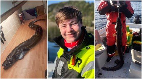 Aksel Svortevik (14), pappa John Egil og Danut Iulian Ghetea hadde ikkje venta å få ein havål på kring to meter på kroken då dei drog sniklina utanfor Kvalvika i Eikefjord.
