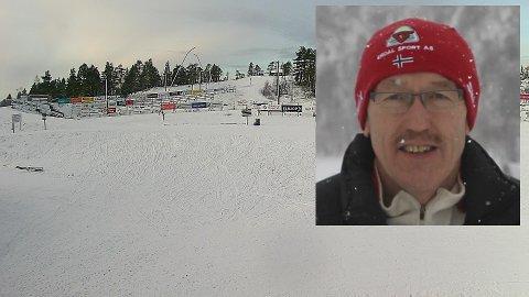 – Det er heilt strøkent, seier Kjetil Bjørset om skiføret på langeland. Bildet er frå webkameraet på Langeland onsdag føremiddag.