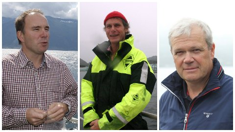DEI TRE STORE: Erik Osland (f.v.), Ola Braanaas og Alex Vassbotten er dei tre store oppdrettarane sør for Nordfjorden.