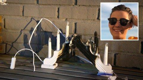 BRANN: Slik såg lysestaken til Julie Kristoffersen (innfelt) ut etter at brannen var sløkt.