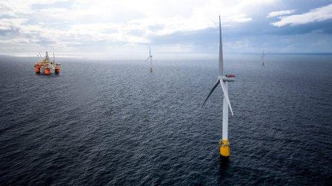 VINDMØLLER: Illustrasjon av vindkraftprosjekter Hywind Tampen.