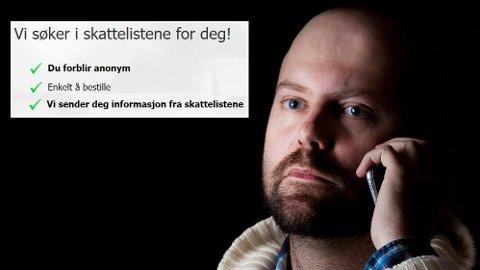 ANONYM SNOKING: Thomas Mathiesen i Etterforsker1 kan sjekke skattetala for deg, mot betaling. Det finst ei rekke nettsider som tilbyr samme teneste.