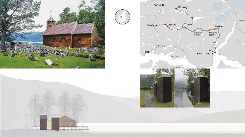 RASTEPLASS: Ved Hestad kapell skal det byggast to toalett, rasteplass med benkar og bord, samt skogsti med oppslag om lokalhistorie, og ein utstikkar ut i vatnet.