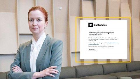 ÅTVARAR: Sikkerheitsdirektør Ragna Fossen i Skatteetaten åtvarar folk mot nye svindelmetodar.