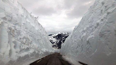BRØYTEKANTAR: Slik såg det ut på Gaularfjellet i mai, med ni meter høge brøytekantar.