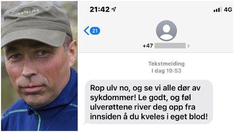 FÅR MYKJE KRITIKK: Denne tekstmeldinga tikka inn på mobiltelefonen til Stein Mortensbakke. Han er blant dei som akkurat no jaktar på ulven «Lucky». – Vi let oss ikkje påverke av sånt. Vi har ein jobb å gjere, seier han.