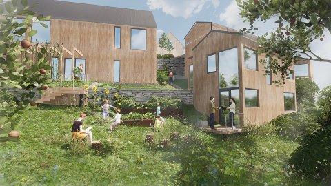 TUN: Arkitektane tenkjer at Hagebytunet skal bli eit tun med småhus og eit stort hageområde som også fungerer som leikeplass.