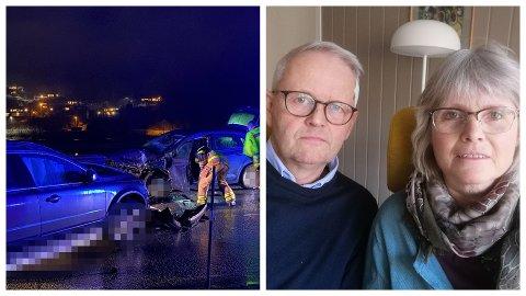 FRONTKOLLISJON: Fredag hamna ekteparet Ingvald Andersen Frøyen og Rigmor Frøyen opp i den dramatiske kollisjonen i Naustdal. Dei er utskrivne frå sjukehus og er sjukemelde i nokre veker.