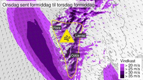 FAREVARSEL: Det er meldt om kraftige vindkast på Vestlandet frå onsdag til torsdag.
