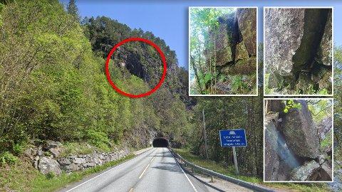 Dei ustabile bergpartia ligg like ovanfor tunnelmunningen (rød ring). Innfelt ser ein nokre av dei lause steinblokkene.