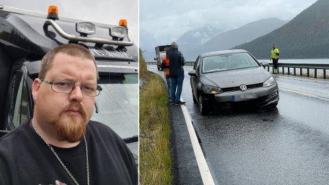 RØFF HEIMTUR: Raymond Jenssen vart vitne til ei ulykke på E39 i Jølster laurdag. Den gløymer han ikkje med det første. Til høgre ser vi han dirigere trafikken på staden.