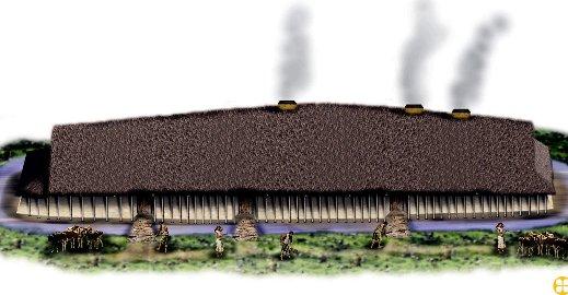 Gjenoppbygges: Langhuset var 61 meter langt og trolig en høvdinghall. Det er Nordens største bygg fra romertiden og lå på Missingen i Råde. 8Illustrasjon: Eigill Tangen