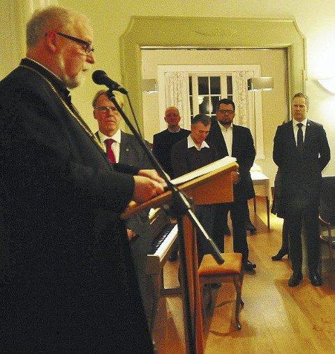 Tok opp terror: Biskop Atle Sommerfeldt la vekt på Kirkens rolle i arbeidet mot ekstremisme i sin tale. Foto: Øivind Lågbu