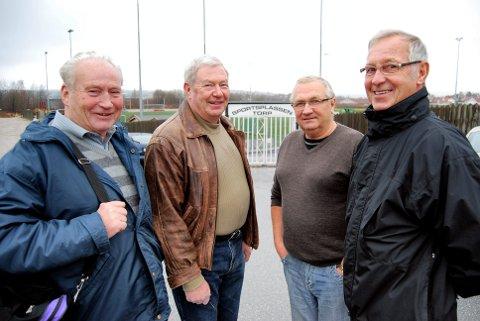 GAMLE TRAVERE: Pensjonistene har alltid stilt opp. Jan Johansen (t.v.), Kjell Rekstad, Bjørn Olsen og Kai Øiset.