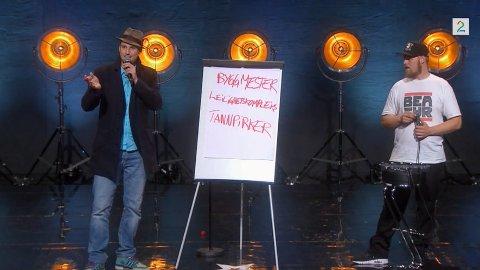 Skranglebein tok med seg beatboxer fra Island og improviserte hele opptreden sin. Det sikret han plass i semifinalen.