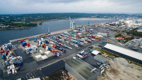 Vokser kraftig: Godsmengden økte kraftig ved Borg havn i fjor. Men det var gods i løs form (bulk) som sto for hovedøkningen, ikke containertrafikken. (Arkivfoto: Erik Hagen)
