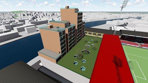Illustrasjonen viser blokkene som er planlaget mellom Stadion og Vesterelven med grøntareal mellom nybyggene og endetribunen på Fredrikstad stadion. (Studentarbeid)