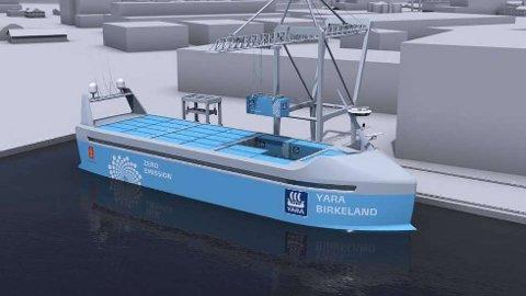 Gir muligheter også for rute i Glomma: Yara Birkeland, som skal gå i rute i Telemark og Vestfold fra 2020,  blir det første førerløse batteridrevne containerskipet i verden. (Foto: Telemarksavisa, Yara/Kongsberg Maritime)
