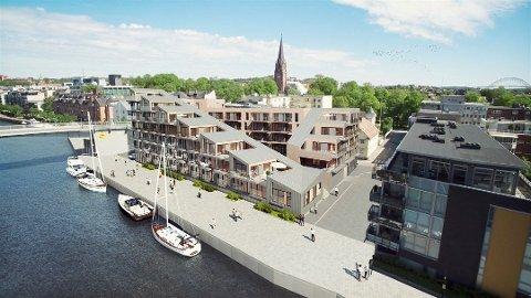 SNart halvveis: Ansvarlig megler Kari Mette Wernersen har solgt 20 av 51 leiligheter på Tordenskiold Brygge. Hun håper på byggestart i mars.