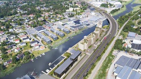 SELGER: Eiendomsmegler Geir Winther tror det vil komme en bolk med nye kjøpere når man begynner å se konturene av det nye boligprosjektet på Seut Brygge. Til nå er 50 av de 112 leilighetene solgt.