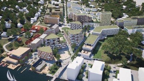 Store planer: Værstetorvet skal bygges ut med nytt kjøpesenter, kontorarealer og boliger. Illustrasjonen viser hvordan området kan se ut når det er ferdig. Når utbggingen kan starte er uvisst.