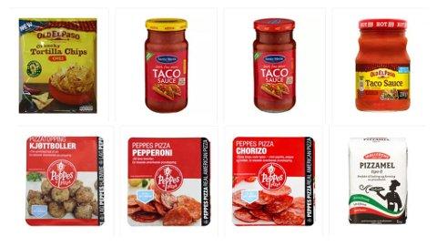 REDUKSJON: Prisen på medium tacosaus eller pizzamel kuttes med 40 prosent. Også de andre varene reduseres i pris.